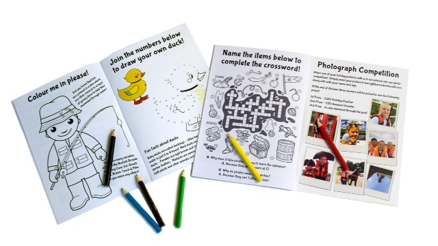 Activity book and colouring pencils for the children