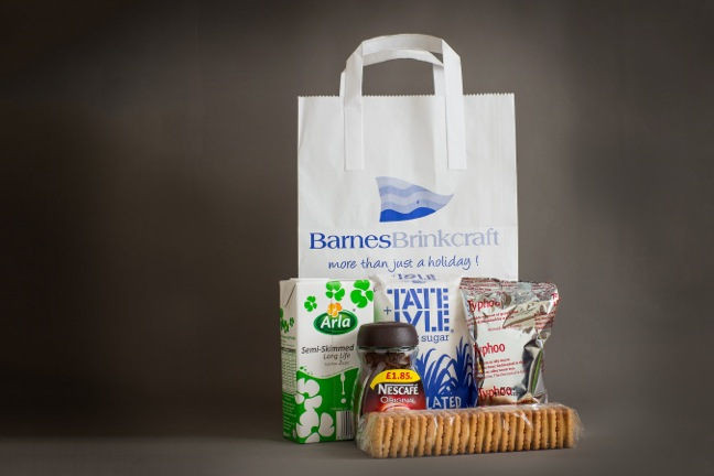 Welcome bag, tea, coffe, milk & biscuits to get you started