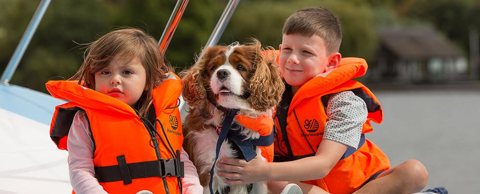 Life jackets for the whole family, even the dog!