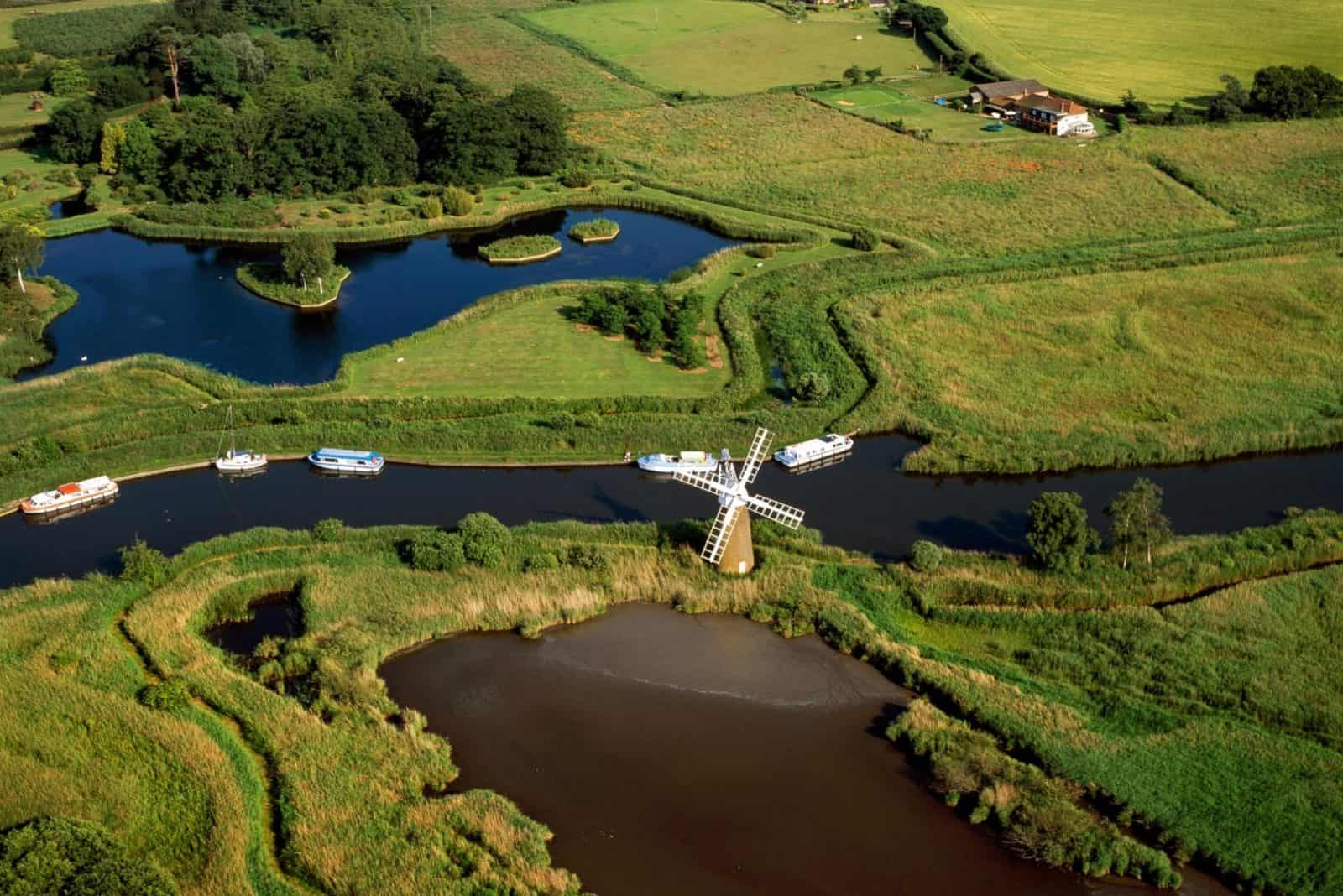 Aerial view of the Norfolk Broads