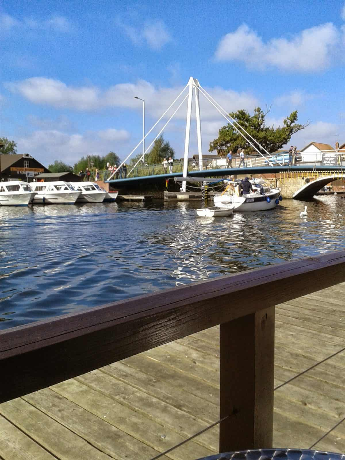 3 day boating trip - View of the bridge from Wroxham Hotel